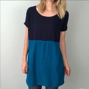 Navy & aqua color block t-shirt dress size small